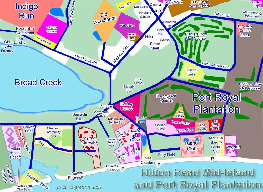 MidIsland Interactive Map Of Hilton Head Island Cheryl Morgan - Hilton properties map